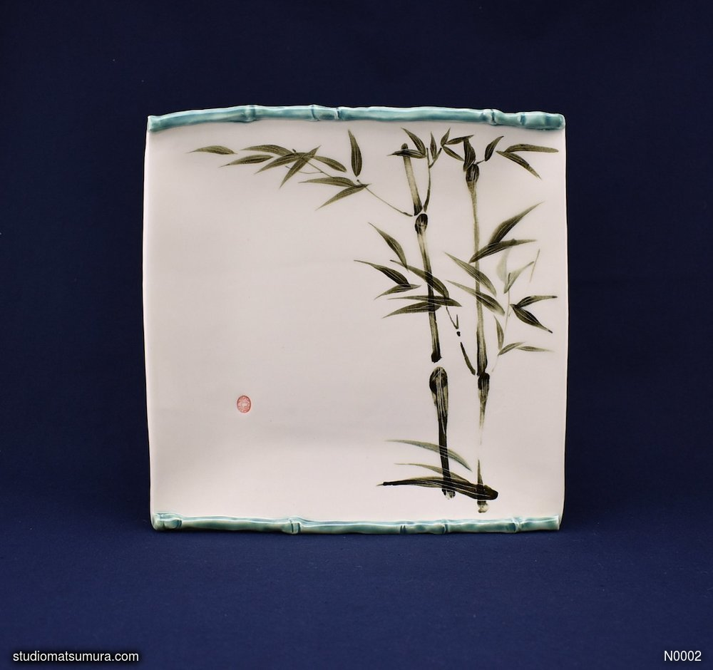 Handmade dinnerware with Sumi-e drawings of a Bamboo with decoration trim