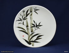 Load image into Gallery viewer, Handmade porcelain dinnerware with sumi-e drawings of a Bamboo