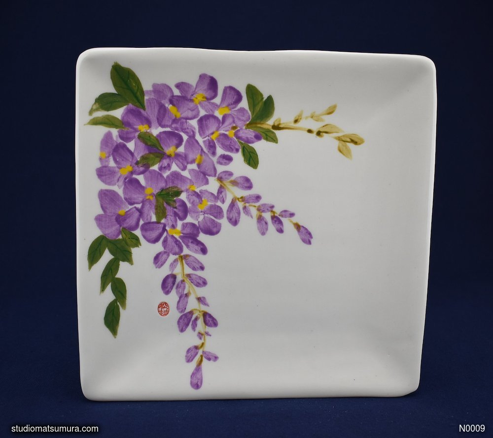 Handmade dinnerware with Sumi-e drawings of a Wisteria