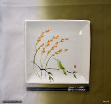 Load image into Gallery viewer, Another angle of  Handmade dinnerware with Sumi-e drawings of an Agastache and hummingbird