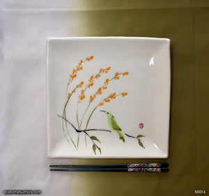 Another angle of  Handmade dinnerware with Sumi-e drawings of an Agastache and hummingbird