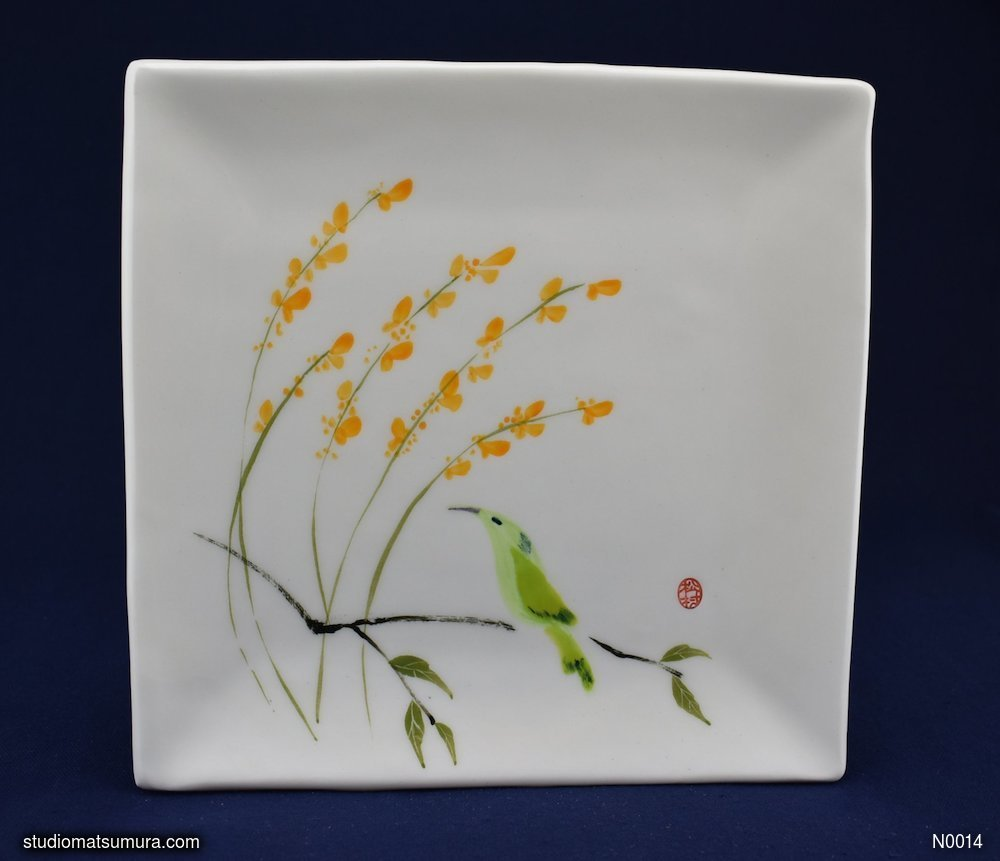 Handmade dinnerware with Sumi-e drawings of an Agastache and hummingbird
