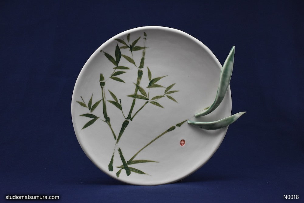 Handmade dinnerware with Sumi-e drawings of a Bamboo, with Raised Decoration Leaves
