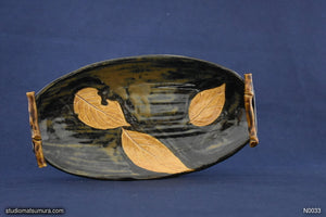 Handmade dinnerware, Dancing leaf design, stoneware, dark color
