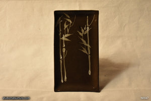 Handmade dinnerware with Sumi-e drawings on chestnut brown stoneware Bamboo