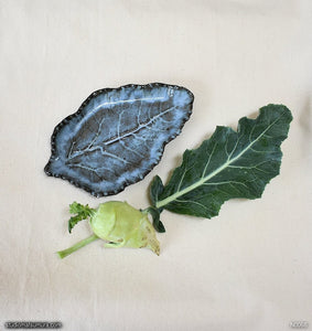 Another angle of  Handmade dinnerware, blue Kohlrabi leaf plate