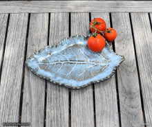 Load image into Gallery viewer, Handmade dinnerware, blue Kohlrabi leaf plate , another image