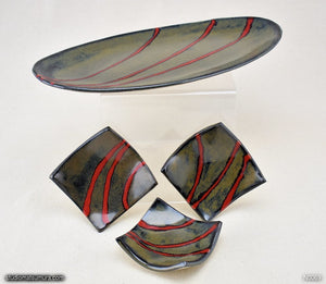 Another angle of  Handmade dinnerware. Red & Black plate and dish 4-piece set
