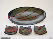 Load image into Gallery viewer, Handmade dinnerware. Red & Black plate and dish 4-piece set