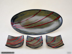 Handmade dinnerware. Red & Black plate and dish 4-piece set