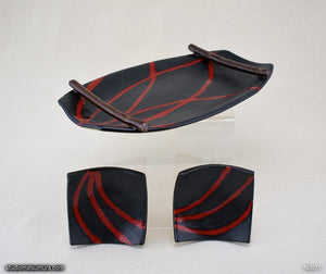 Another angle of  Handmade dinnerware. Red & Black plate and dish 3-piece set