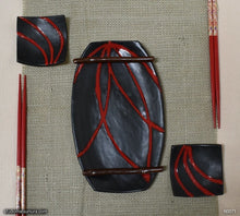 Load image into Gallery viewer, Handmade dinnerware. Red & Black plate and dish 3-piece set, another image