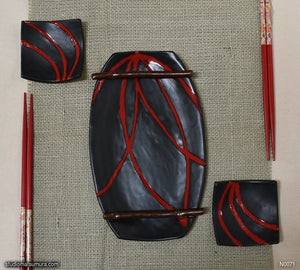 Handmade dinnerware. Red & Black plate and dish 3-piece set, another image