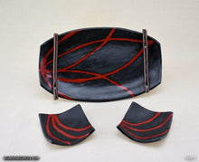 Load image into Gallery viewer, Handmade dinnerware. Red & Black plate and dish 3-piece set