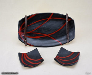 Handmade dinnerware. Red & Black plate and dish 3-piece set