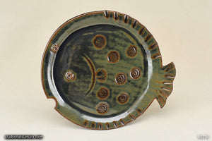 Fish stoneware decorative plate.  Flatfish design