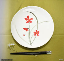 Load image into Gallery viewer, Another angle of  Handmade dinnerware with Sumi-e drawings of a Red Orchid