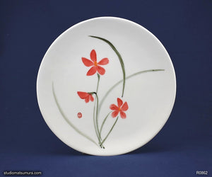 Handmade dinnerware with Sumi-e drawings of a Red Orchid