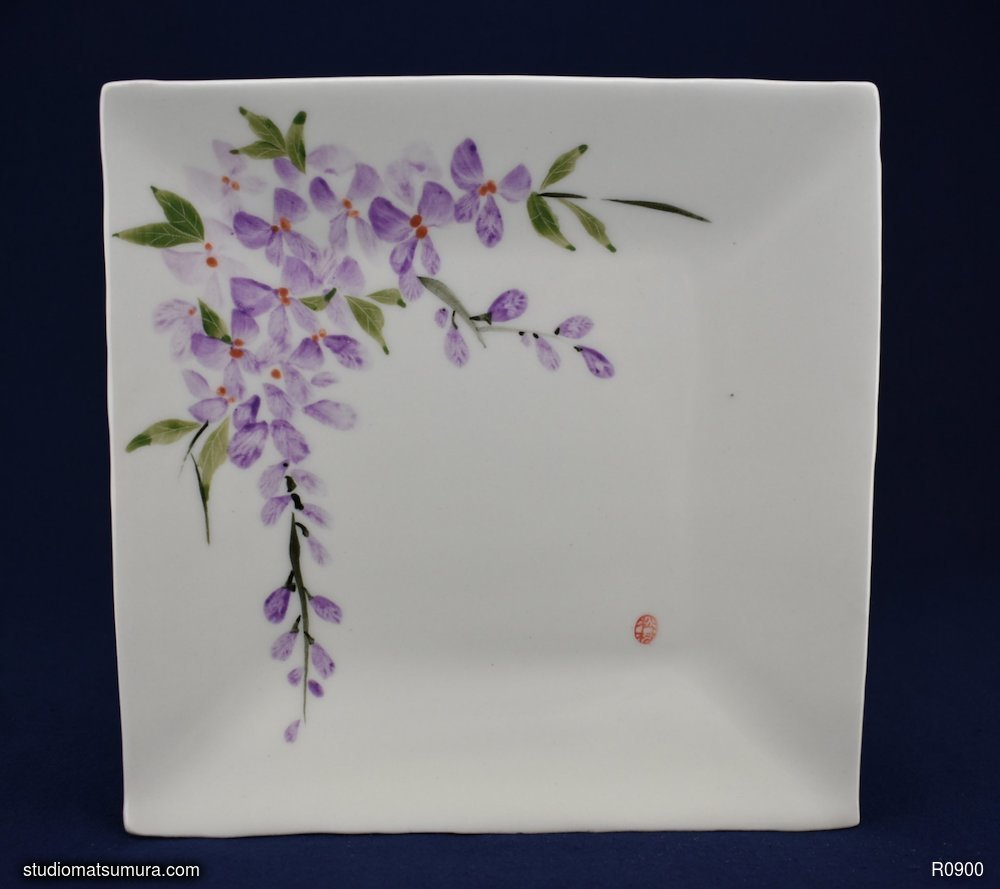 Handmade dinnerware with Sumi-e drawings of a Wisteria, variant 2