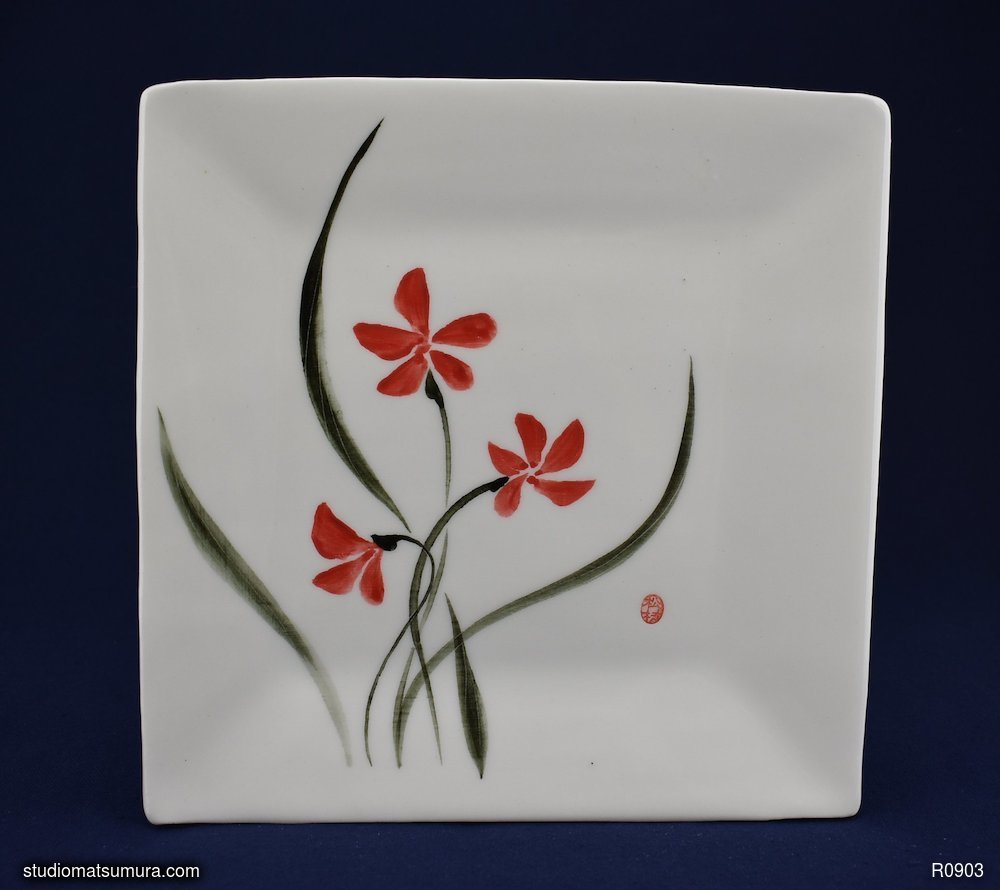 Handmade dinnerware with Sumi-e drawings of a Porcelain Red Wild Orchid