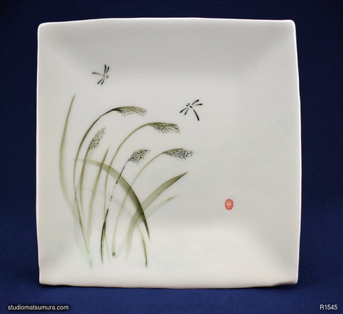 Handmade dinnerware with Sumi-e drawings of a Dragonfly in Rice paddy-field