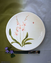 Load image into Gallery viewer, Another angle of  Handmade dinnerware with Sumi-e drawings of a Wild Orchid 2