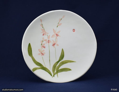 Handmade dinnerware with Sumi-e drawings of a Wild Orchid 2
