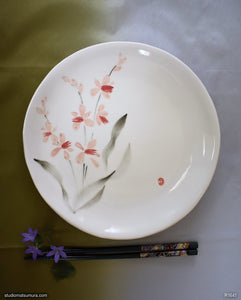 Another angle of  Handmade dinnerware with Sumi-e drawings of a Wild Orchid