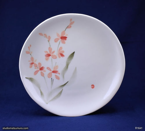 Handmade dinnerware with Sumi-e drawings of a Wild Orchid