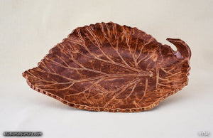 Handmade dinnerware, Rhubarb leaf bowl, brown color