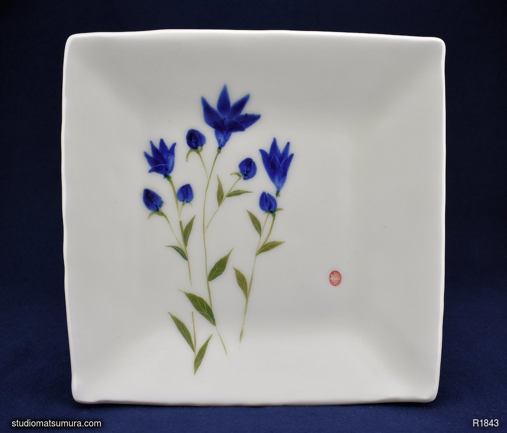 Handmade dinnerware with Sumi-e drawings of a Balloon Flower