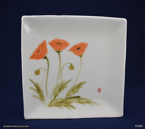 Handmade dinnerware with Sumi-e drawings of an Asian poppy, square plate