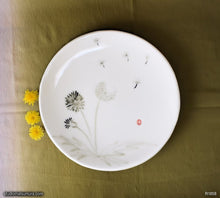 Load image into Gallery viewer, Another angle of  Handmade dinnerware with Sumi-e drawings of a Dandelion