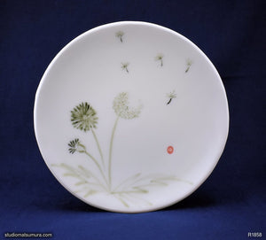 Handmade dinnerware with Sumi-e drawings of a Dandelion