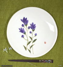 Load image into Gallery viewer, Another angle of  Handmade dinnerware with Sumi-e drawings of a Japanese Gentian (Rindoh)