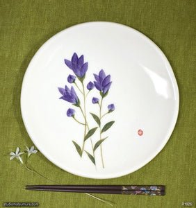 Another angle of  Handmade dinnerware with Sumi-e drawings of a Japanese Gentian (Rindoh)