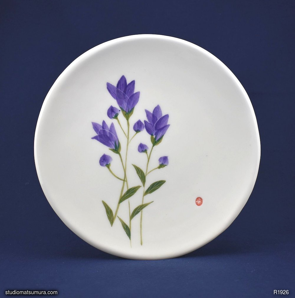 Handmade dinnerware with Sumi-e drawings of a Japanese Gentian (Rindoh)