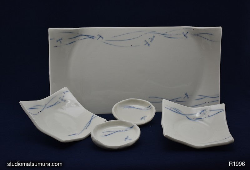 Handmade dinnerware with Sumi-e drawings of a dragonfly 5-piece platter set