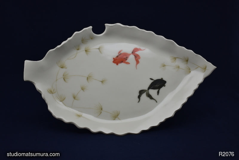 Handmade dinnerware with Sumi-e drawings of a Red and a Black Goldfish