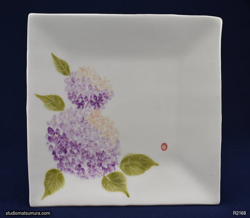 Handmade dinnerware with Sumi-e drawings of a Hydrangea, square plate