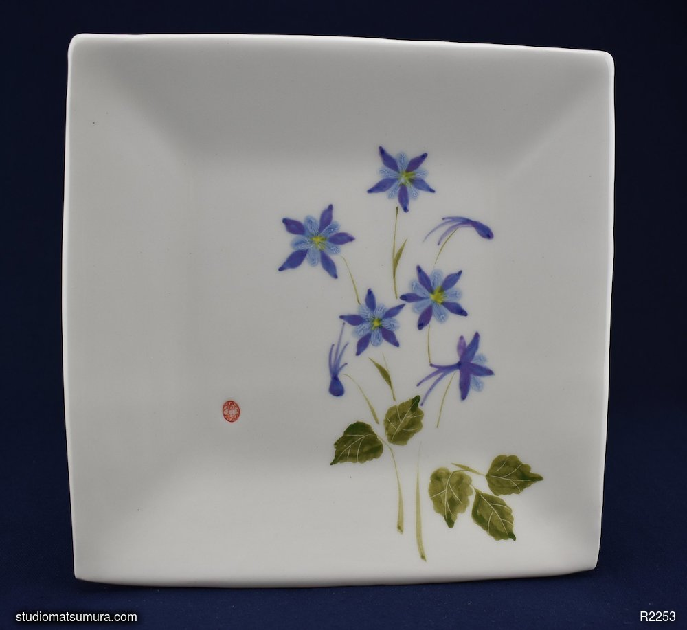 Handmade dinnerware with Sumi-e drawings of a Blue Columbine, square plate