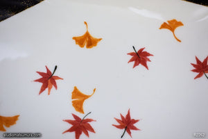 Another angle of  Handmade dinnerware with Sumi-e drawings of Autumn leaves