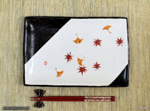 Handmade dinnerware with Sumi-e drawings of Autumn leaves, another image