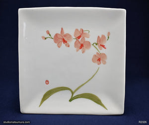Handmade dinnerware with Sumi-e drawings of a Pink Orchid, square plate