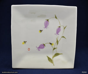 Handmade dinnerware with Sumi-e drawings of a Bellflower Campanula and Firefly