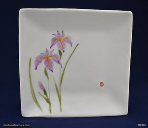 Handmade dinnerware with Sumi-e drawings of an Iris, square plate
