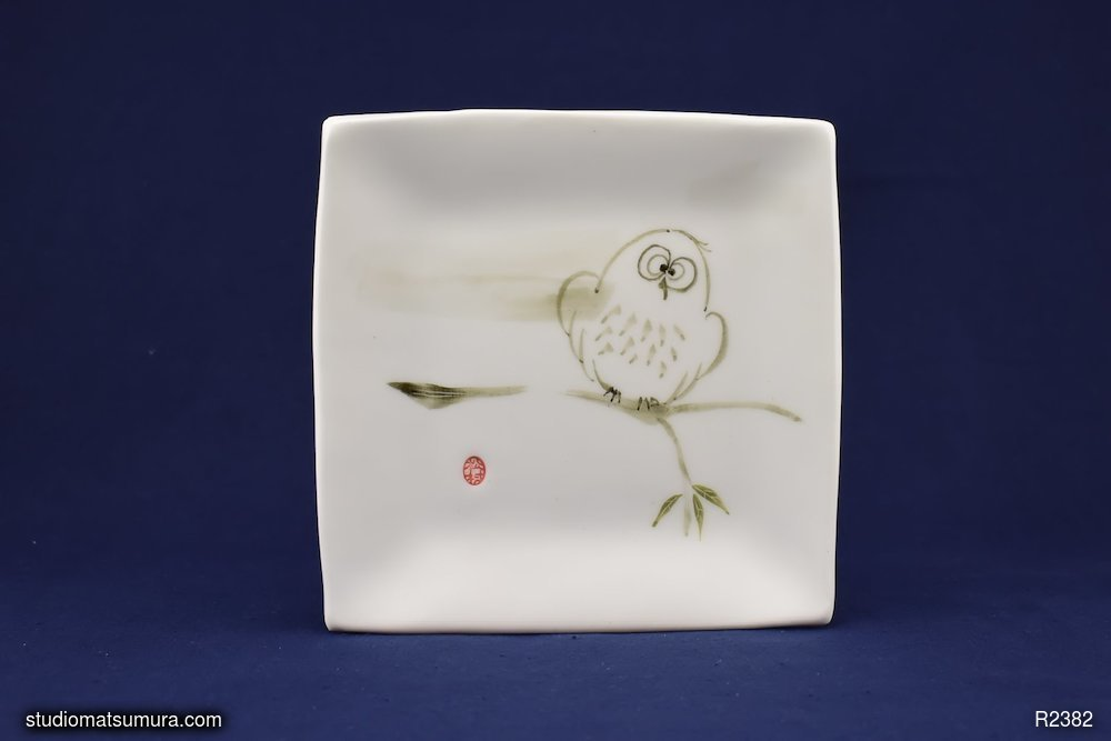 Handmade dinnerware with Sumi-e drawings of an Owl in Wind