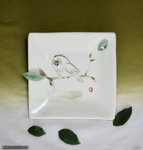 Load image into Gallery viewer, Another angle of  Handmade dinnerware with Sumi-e drawings of an Owl in Wind with raised decoration