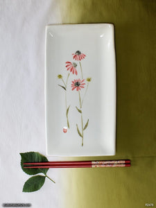 Another angle of  Handmade dinnerware with Sumi-e drawings of an Echinacea