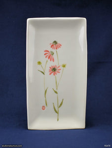 Handmade dinnerware with Sumi-e drawings of an Echinacea